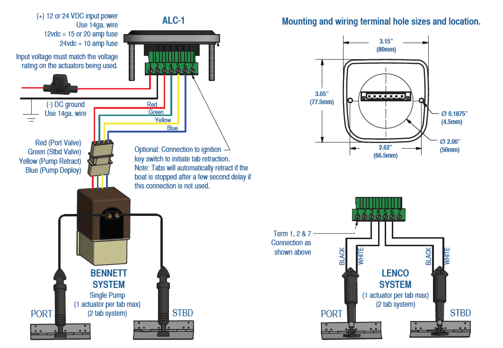 alc bennet lenco systems automatic level control for lenco and bennett products bennett hydraulic trim tab wiring diagram at panicattacktreatment.co