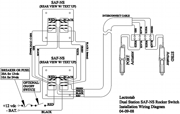 Wiring Diagram - Flat Rocker Switch (SAF-S, SAF-NS, SF-S Series) |  Lectrotab Electromechanical Trim Tab Systems  Lectrotab